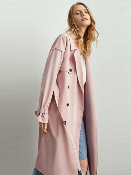 涵沫女装品牌2019春夏新款韩版甜美色翻领系带单排扣长款外套