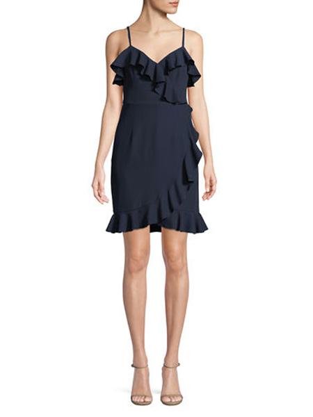 ISMMING女装品牌2019春夏新款V领低胸荷叶边露背修身不规则包臀吊带裙