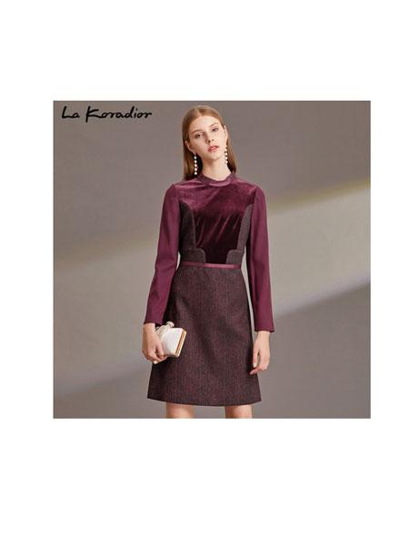 拉珂蒂女装品牌2019秋季女装针织长袖拼接系带收腰显瘦连衣裙女