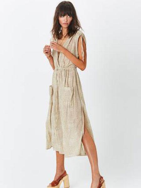 Jens Pirate BootyJen的海盗的战利品女装品牌2019春夏新款欧美时尚性感露背系带无袖褶皱长款连衣裙