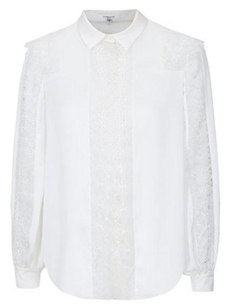 恩曼琳女装品牌2019秋季新方领单排扣蕾丝拼接收褶长袖女蕾丝雪纺衬衫