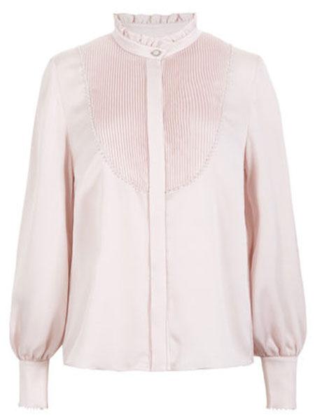 恩曼琳女装品牌2019秋季优雅木耳立领压褶拼接钉珠收腰长袖女衬衫