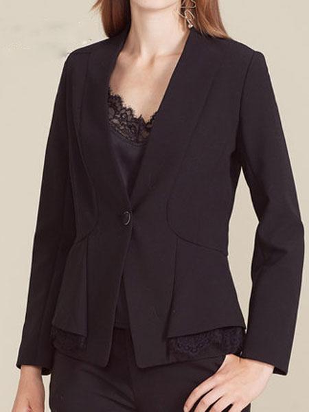 恩曼琳女装品牌2019秋季时尚通勤单粒扣长袖收腰西装短外套