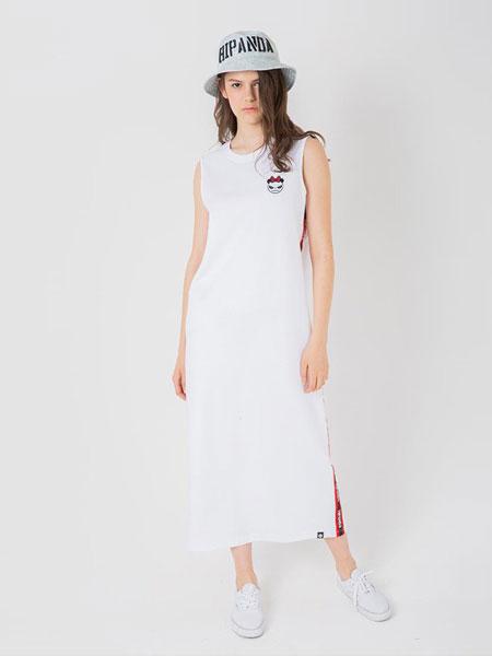HI PANDA休闲品牌2019春夏 潮牌 女织带长款连衣裙