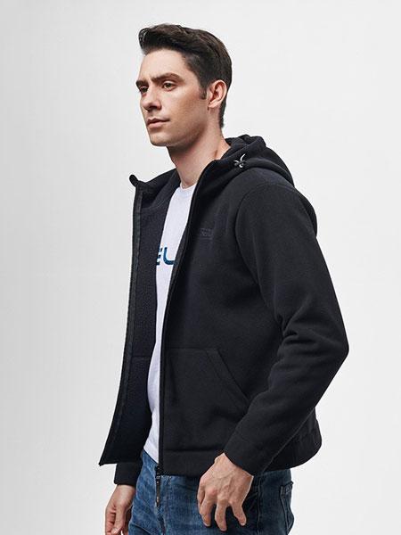 伯希和PELLIOT休闲品牌2019秋冬卫衣开衫外套薄款黑色