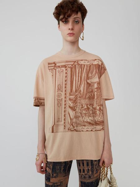 Acne Studios女装品牌2019春夏新款宽松时尚休闲百搭圆领印花短袖T恤