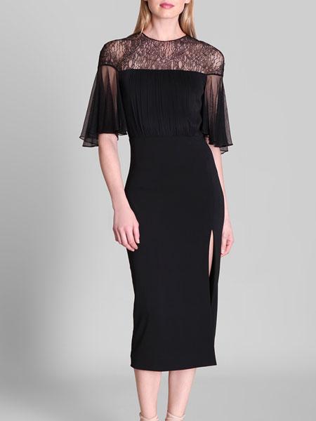 Cushnie et Ochs女装品牌2019春夏蕾丝拼接中长款复古裙高腰小黑裙法式