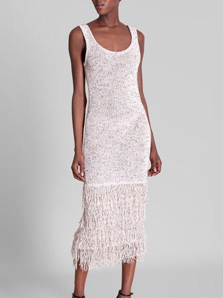 Cushnie et Ochs女装品牌2019春夏新款时尚性感吊带长款连衣裙