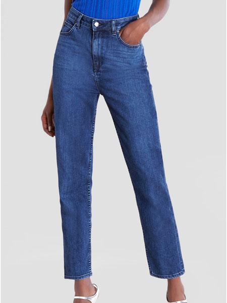 Cushnie et Ochs女装品牌2019春夏新款复古蓝棉质水洗高腰直筒牛仔裤