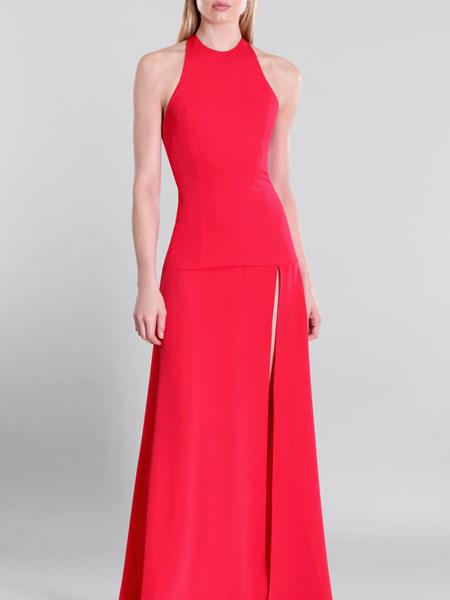 Cushnie et Ochs女装品牌2019春夏新款派对聚会年会晚礼服大红欧美简约个性气质礼服