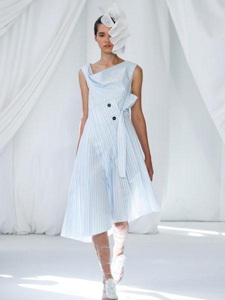 Delpozo女装品牌2019春夏新款气质名媛条纹无袖连衣裙