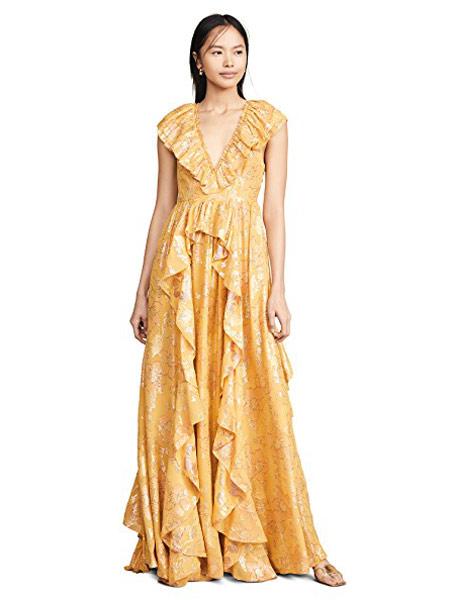 LIU・JO女装品牌2019春夏新款金属花V领背系带荷叶边长款无袖连衣裙