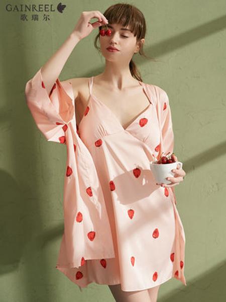 歌瑞��GAINREEL�纫缕放�2019春夏草莓印花性感带胸垫睡裙两件套吊带睡衣睡袍
