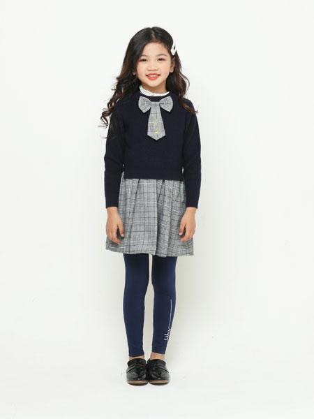卡儿菲特山西童装品牌2019秋冬新款女童英伦学院风格子连衣裙针织毛衣两件套装潮
