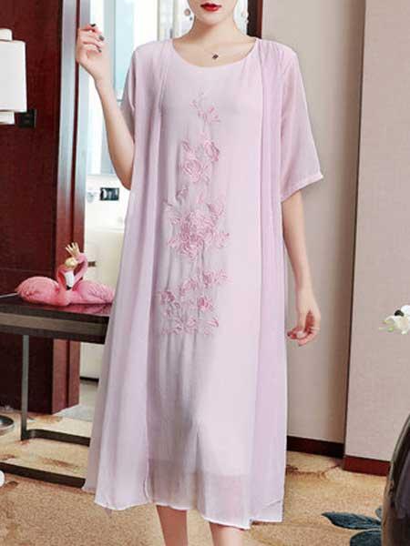 品唐斋女装品牌2019春夏新款时尚圆领刺绣五分袖中长款连衣裙