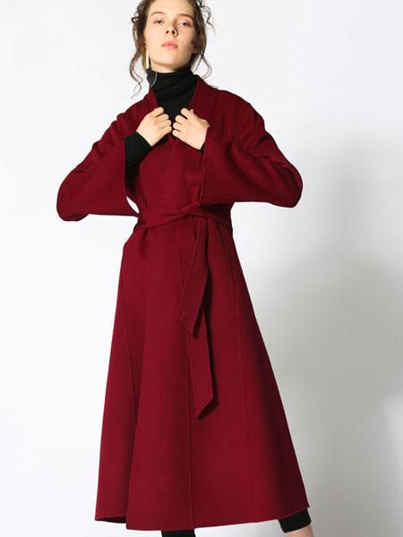 阿莱贝琳休闲品牌2019秋冬时尚潮流韩版大衣红色