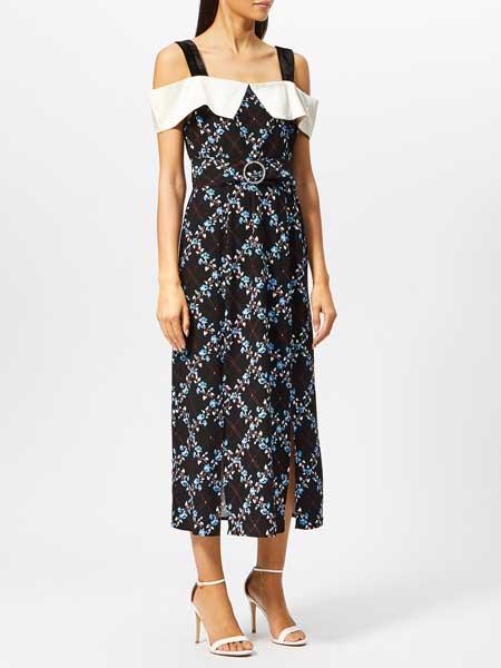 MM6 Maison Margiela女�b品牌2019春夏新款一字肩�赓|��雅宴��聚���L款�@瘦�B衣裙