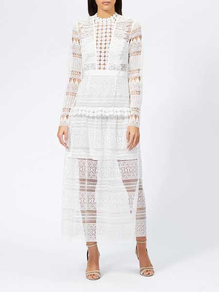 MM6 Maison Margiela女装品牌2019春夏新款蕾丝镂空高腰圆领拼接长袖连衣裙