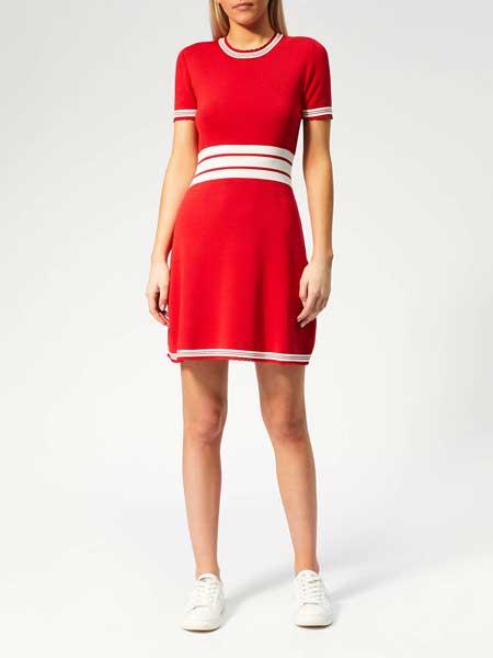 MM6 Maison Margiela女装品牌2019春夏新款红色收腰弹力休闲圆领短袖连衣裙