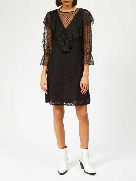 MM6 Maison Margiela女装品牌2019春夏新款荷叶褶皱波点蕾丝连衣裙