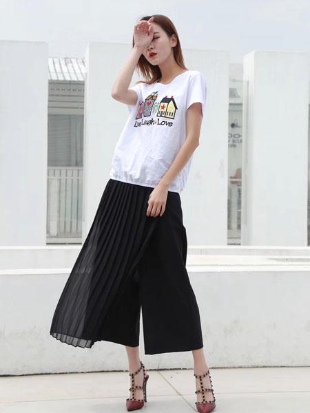 娅熙尔女装品牌2019春夏卡通印花潮流套装