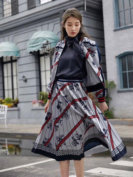 娅熙尔女装品牌2019春夏时尚潮流印花裙
