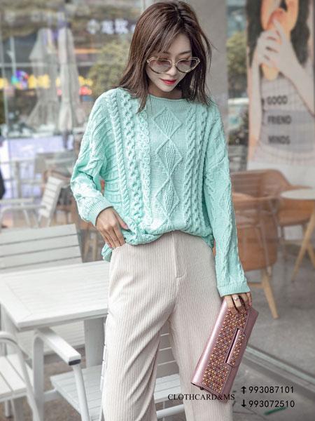 布卡慕尚女装品牌2019秋季针织印花卫衣