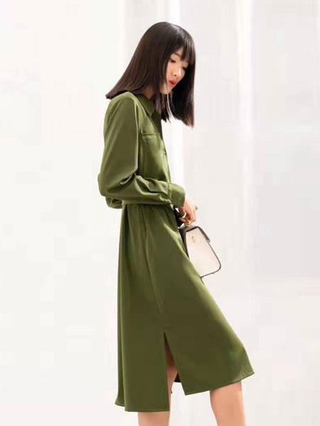 ECA女装品牌2019春夏时尚潮流长裙纯色纯棉