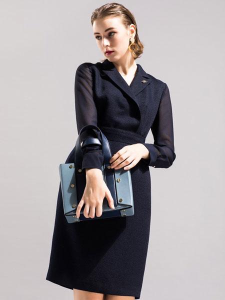 卡佩诺 - KAIPEINUO女装品牌2019春夏拼接小黑裙高腰优雅名媛气质中长裙