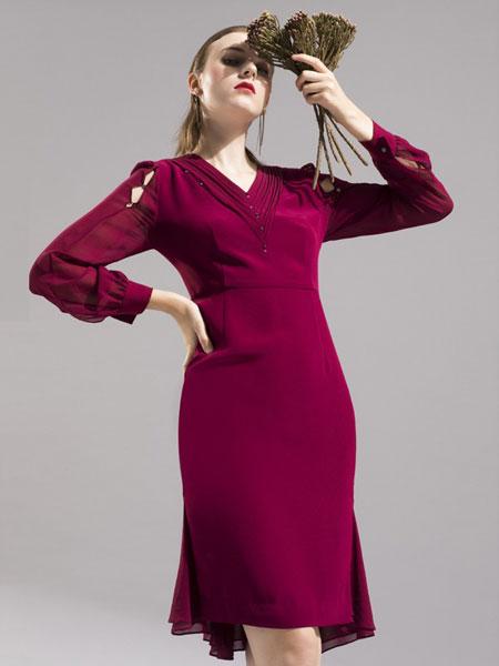 卡佩诺 - KAIPEINUO女装品牌2019春夏开叉一步裙系带职业修身显瘦