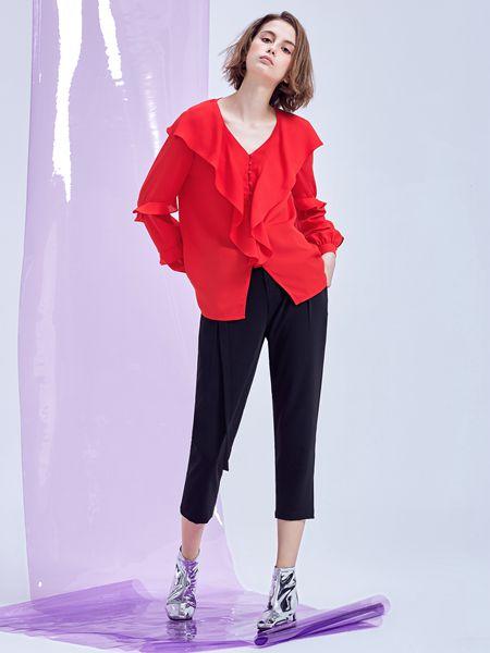 翰代维女装品牌2019秋季时尚潮流红色上衣
