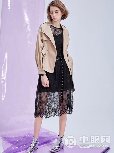 MT女装品牌2019秋季时尚镂空裙灰色外套