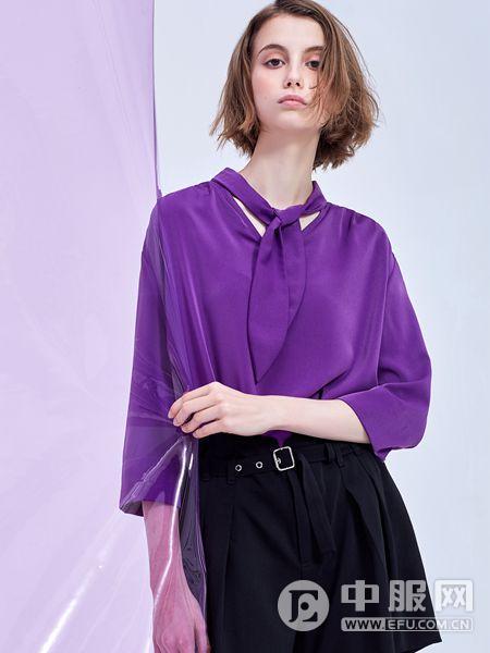 MT女装品牌2019秋季时尚潮流纯棉紫色上衣