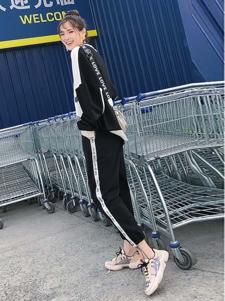 渔民部落Emintribe运动装品牌2019春夏撞色黑白套装