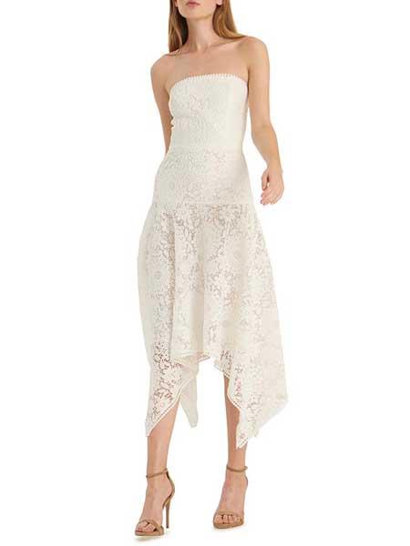 Felicity Brown费利西蒂·布朗女装品牌2019春夏新款白色不规则下摆蕾丝吊带连衣裙