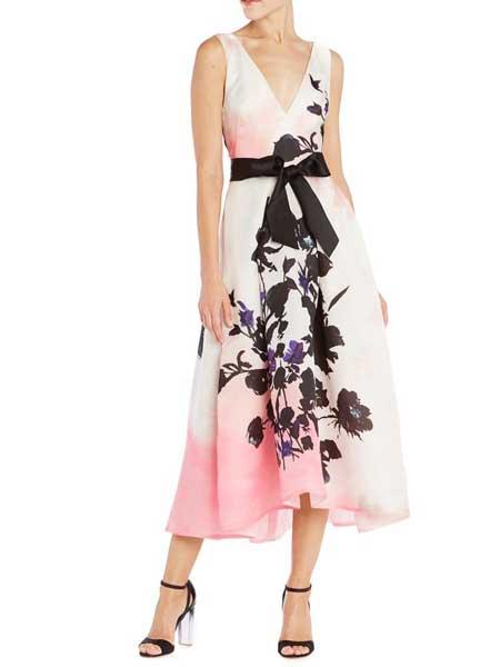 Felicity Brown费利西蒂·布朗女装品牌2019春夏新款气质复古文艺水墨花V领连衣裙