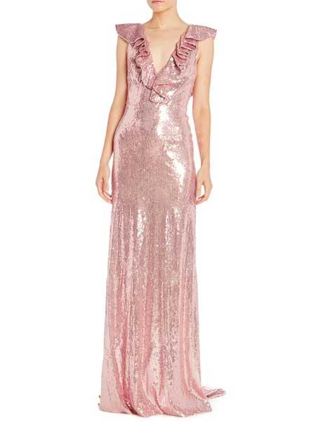 Felicity Brown费利西蒂·布朗女装品牌2019春夏新款修身显瘦v领时尚晚礼服长款