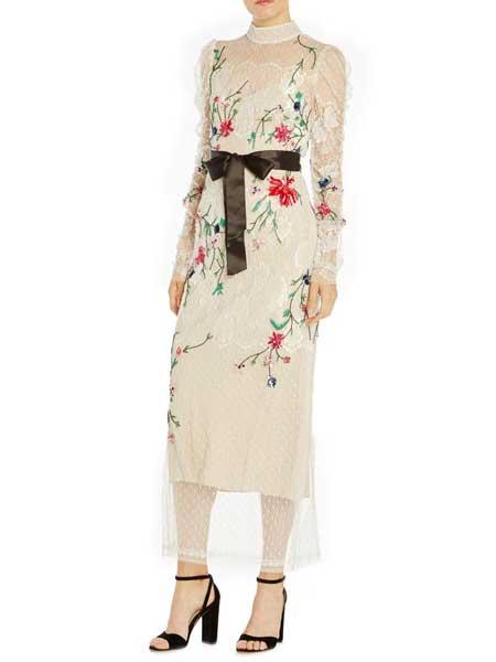 Felicity Brown费利西蒂·布朗女装品牌2019春夏新款收腰显瘦蕾丝绣花文艺复古范森女修身长裙
