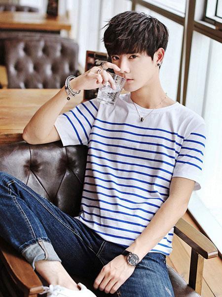 翰代维男装品牌2019春夏白蓝条纹T恤
