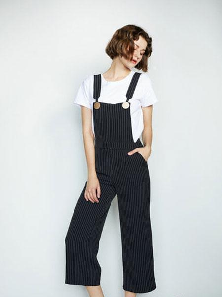 CAGZL(卡姿)女装品牌2019春夏新款蕾丝上衣+条纹背带连体裤