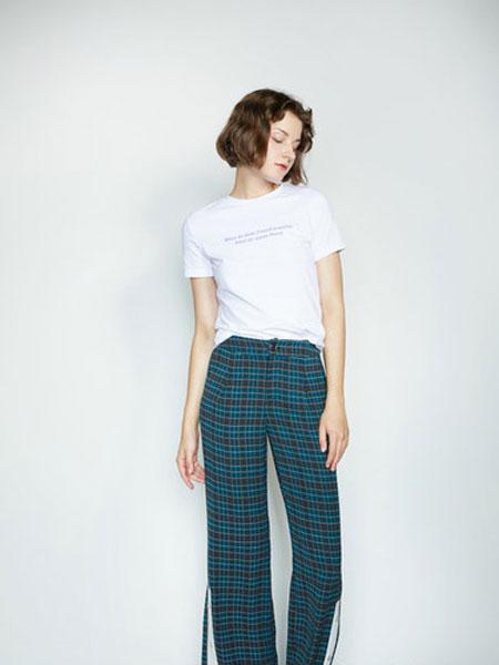 CAGZL(卡姿)女装品牌2019春夏格纹长裤 束脚裤