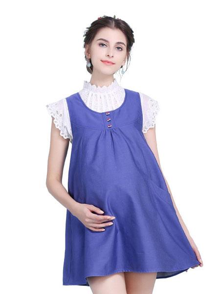誀岚-erlan孕妇装品牌2019春夏蓝色潮流孕妇裙
