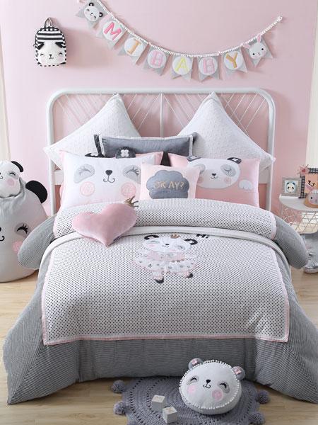 梦洁宝贝家居用品品牌可爱卡通小女生套床
