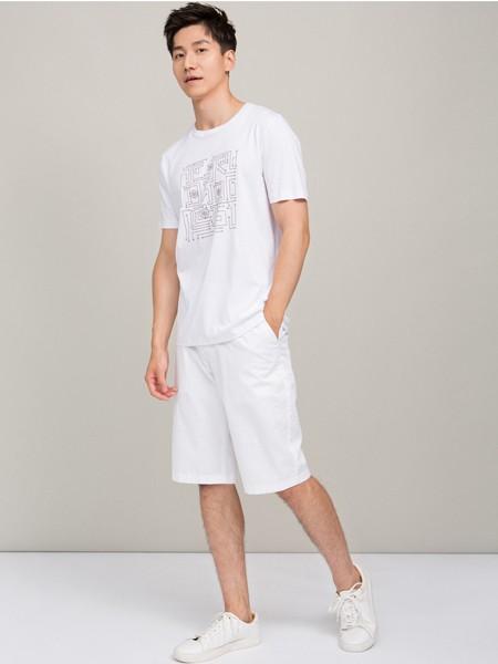 鄂尔多斯高级男装/鄂尔多斯时尚男装男装品牌2019春夏白色印花T恤