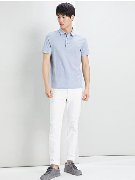 鄂尔多斯高级男装/鄂尔多斯时尚男装男装品牌2019春夏纯色灰色Polo衫