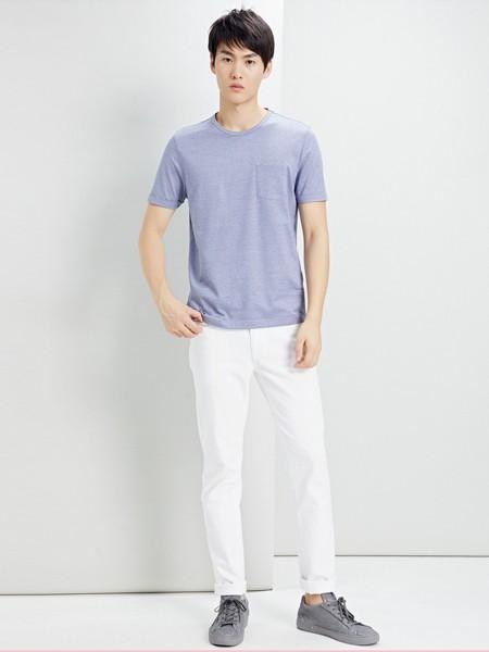 鄂尔多斯高级男装/鄂尔多斯时尚男装男装品牌2019春夏纯色T恤