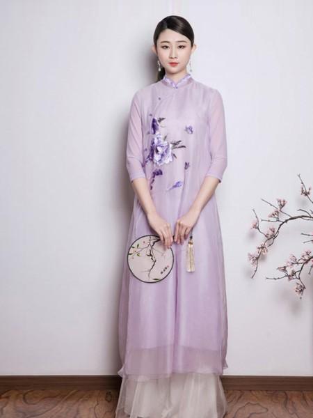 久亿女装品牌2019春夏中国风紫色锦绣裙