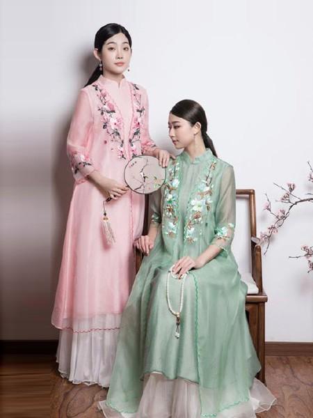久亿女装品牌2019春夏中国风印花裙