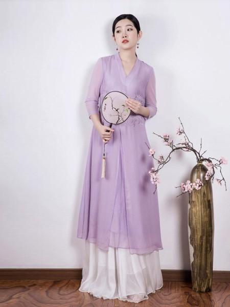 久亿女装品牌2019春夏中国风纯紫色裙