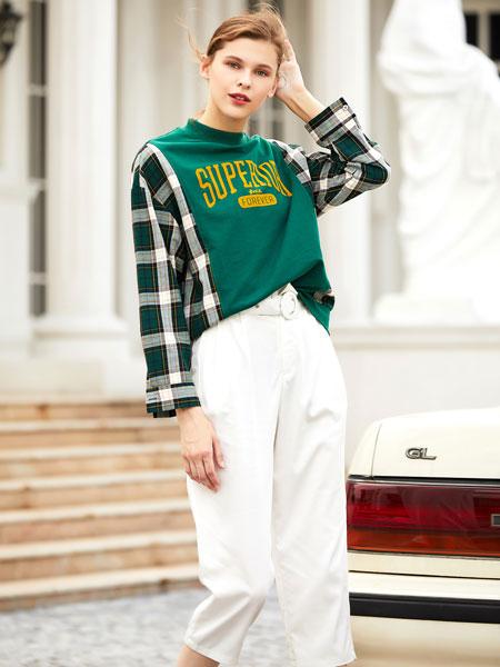 衣艾女装品牌2019秋冬绿色格子印花卫衣